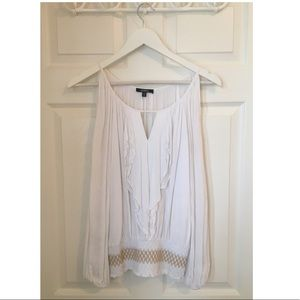 Peekaboo Shoulder White Blouse